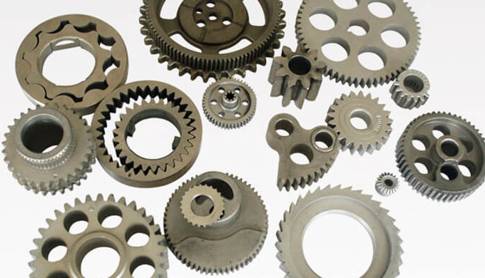Working Process: Conventional sintering process for powder metallurgy parts and sintered part Powder...