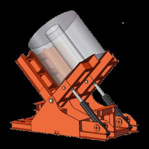 Hydraulický sklopný stůl se používá k otáčení břemen o 90° .