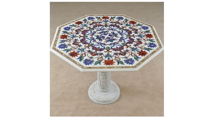 Marble Tables tops with Stand Pure marble and Special stones we have inlay on the marble table