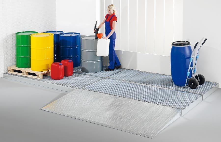 Breite 1000 mmGewässergefährdende und entzündbare Stoffe müssen sicher und vorschriftsmäßig gelagert...