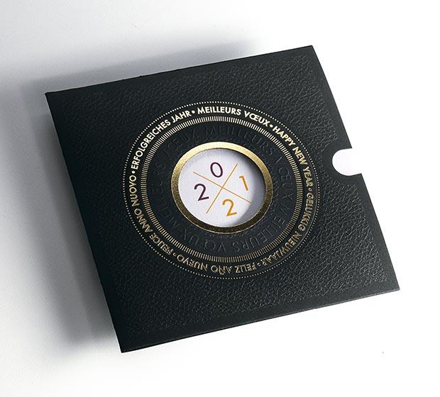Carte de vœu HEMATITE de CREIDEO est une de nos cartes de vœux professionnelle. Elle a un effet en n...