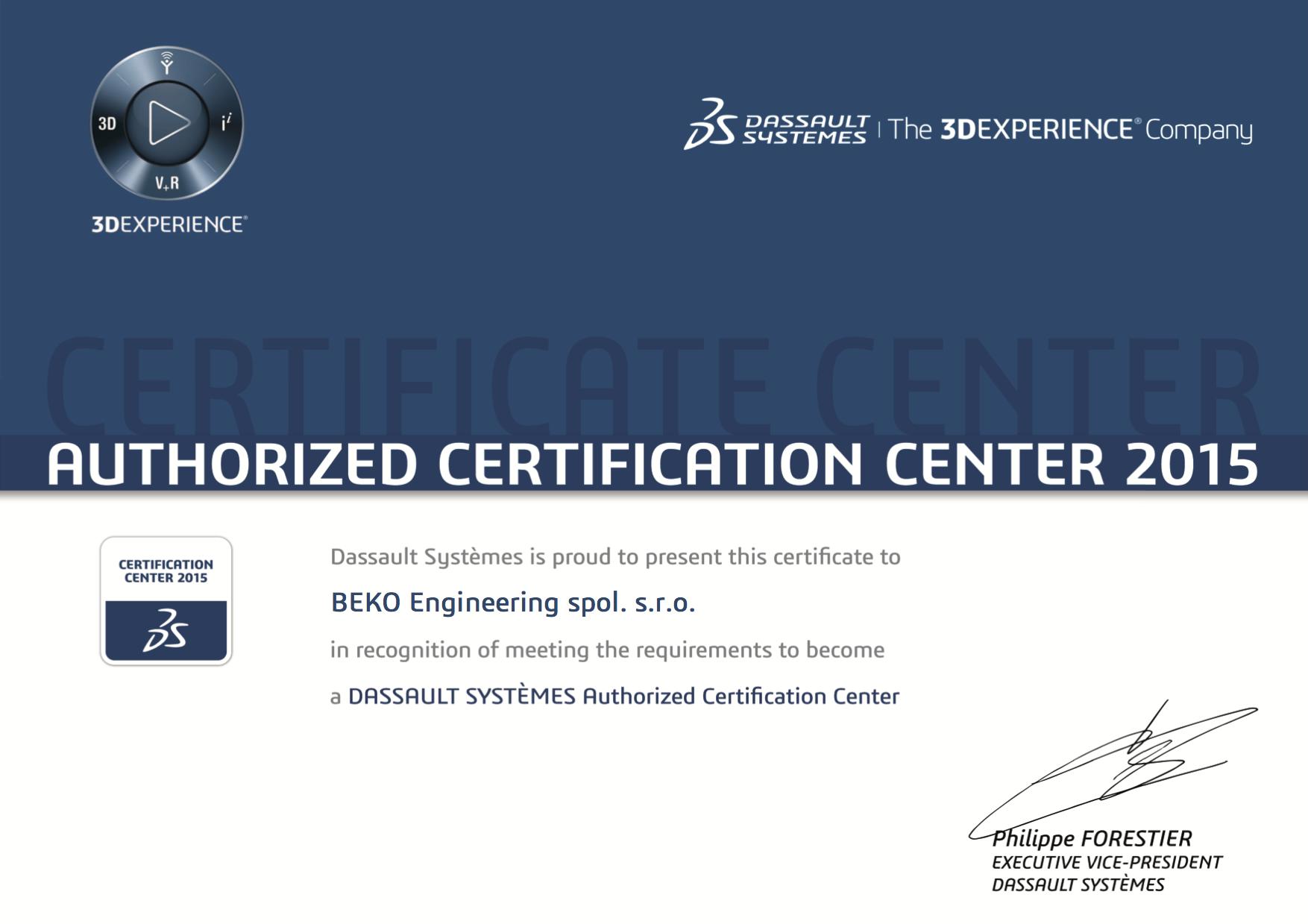 Dassault Systemes Certifikační program Vám přináší zvýšení profesních znalostí a znalostí z průmyslu...