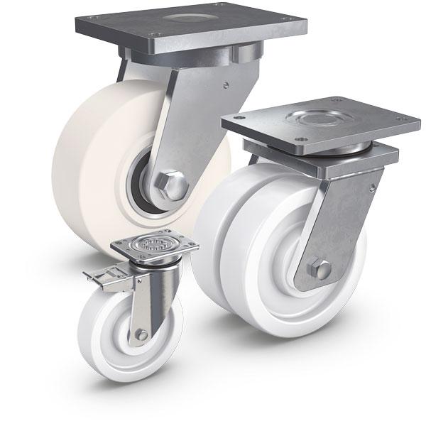 PEVOLON® ist eine thermoplastischer Kunststoff auf Polyamidbasis. Räder aus PEVOLON® verfügen über e...