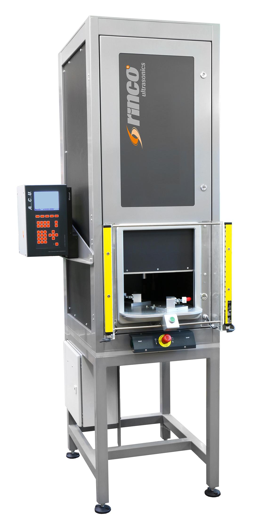 Die Workstation mit Drehtisch wird dort eingesetzt, wo die Schallemission der Ultraschall-Schweissma...