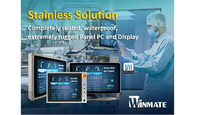 Winmate Hygienic Stainless Panel PC and Display with Touchscreen
