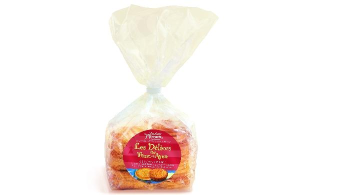 Galettes fines: Farine de blé, sucre, beurre de baratte demi-sel 21%, œufs entiers et poudres levant...