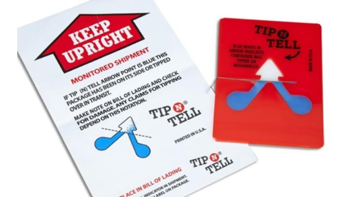 Tip N Ukazatele poškození Tyto jasně zbarvené červené indikátory Tip N Tell jsou opatřeny štítkem s ...