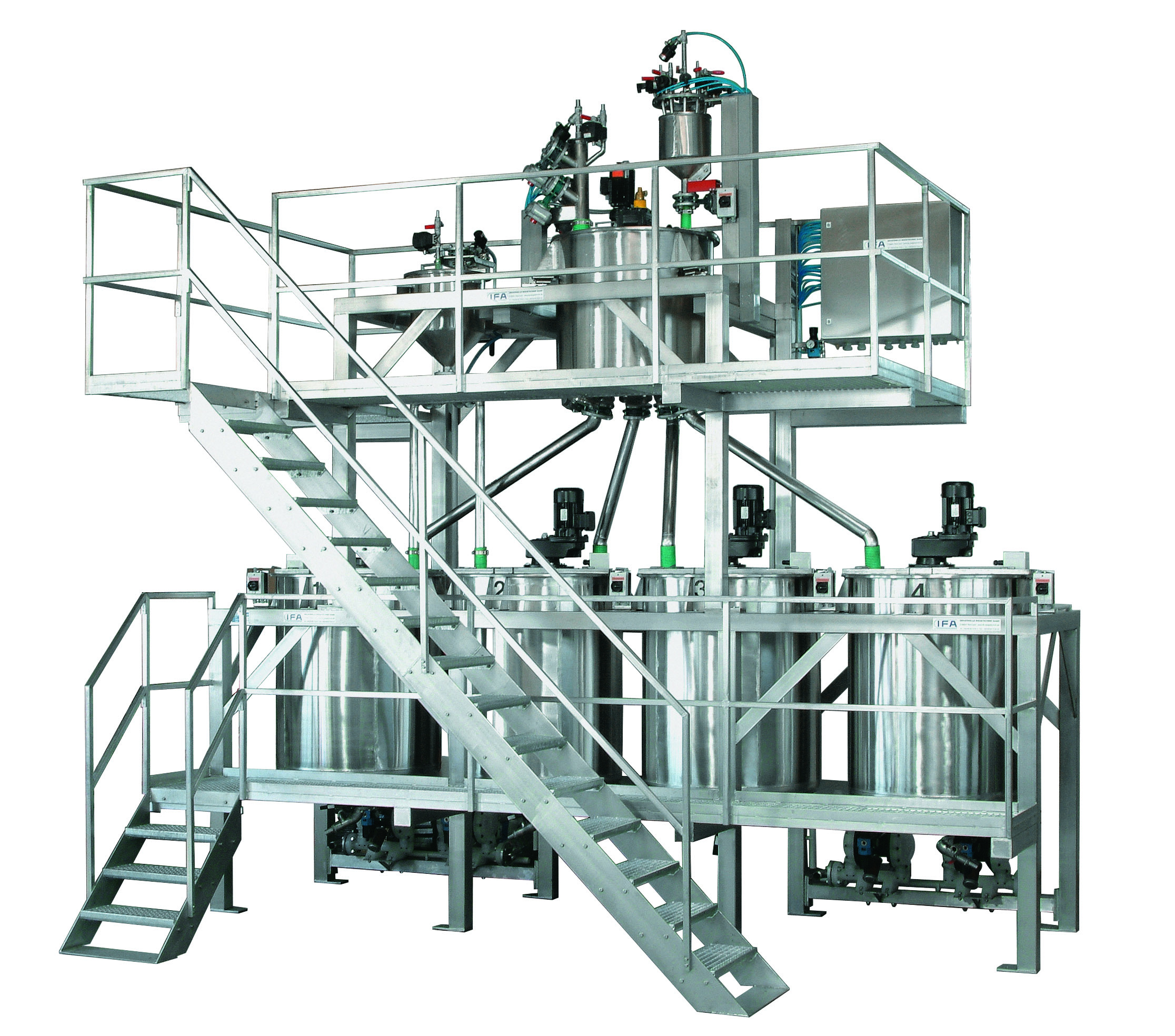 Gravimetric and volumetric weighing-, mixing- and dosing stations