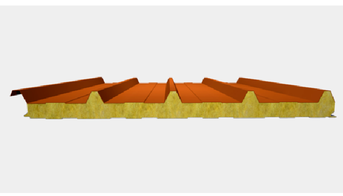Panneaux sandwich en laine de roche (Couverture à nervures)