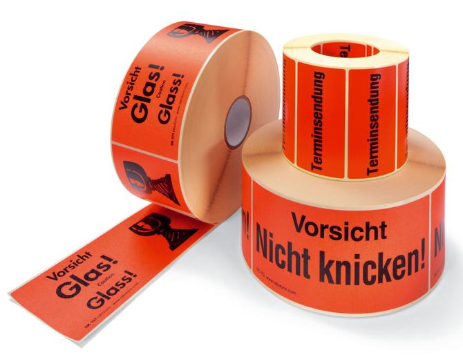 Etiketten, Begleitpapiertaschen, Warnbänder
