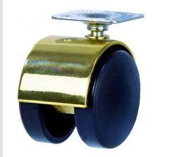 Roulette double en nylon chape acier avec platine