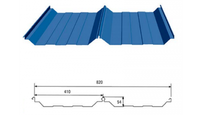Product Parameters: Product Name 820 Bite Type Big Roof Panel Corrugated Steel Roofing Sheets Profil...