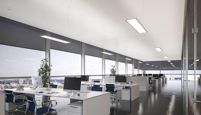 Apparecchio d'illuminazione a sospensione di forma particolarmente pianaQuota diretta con tecnologia...