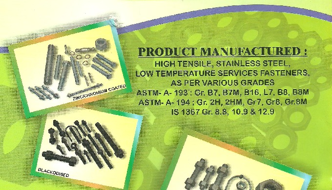 MODERN MECHANICAL INDUSTRIES Mumbai ( TDC approved ) Respected Sir, Industrial fasteners are common....