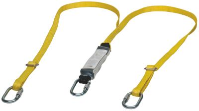 Les longes avec absorbeur d'énergie relient le point d'ancrage d'arrêt de chute des harnais intégrau...