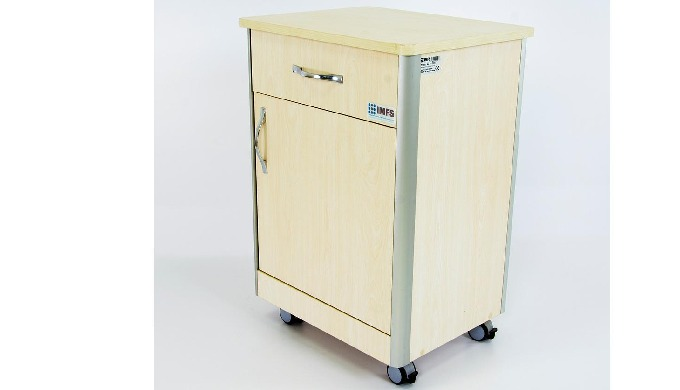 Bedside cabinet that is entirely made up of wood with Special aluminum profile edges, castors, one d...