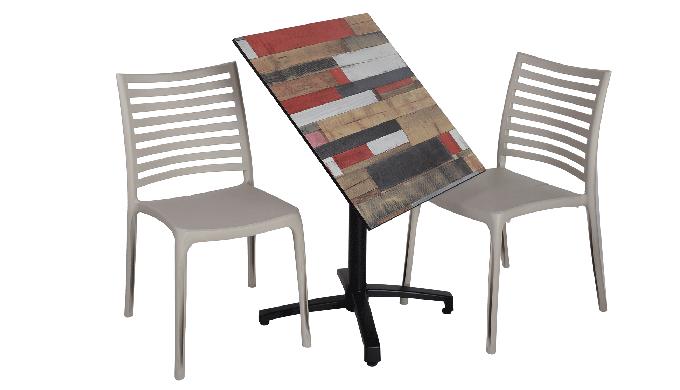 Plateaux compact terrasse été pieds fixes ou rabattable avec deux chaises au choix