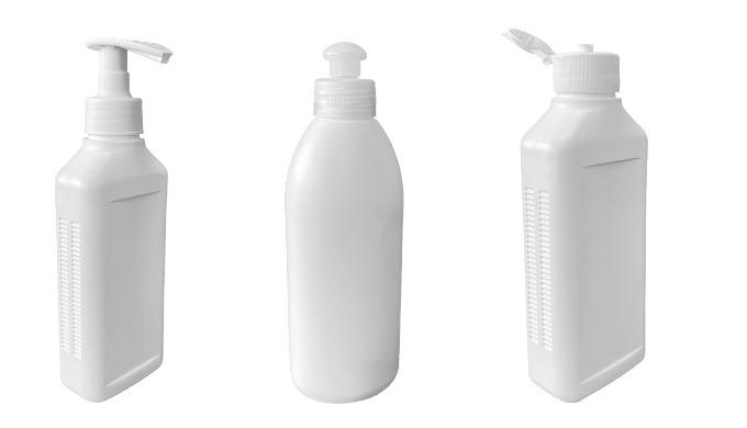 Leere Desinfektionsflaschen