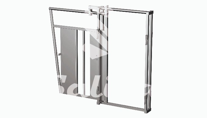 Connection frame with sliding gate Size: 1.25m x 1.78m x 0.25m Can be connected to fixing panels. 4 ...