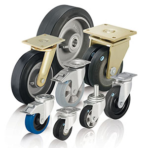 Heavy duty wheels and castors with elastic solid rubber tyres