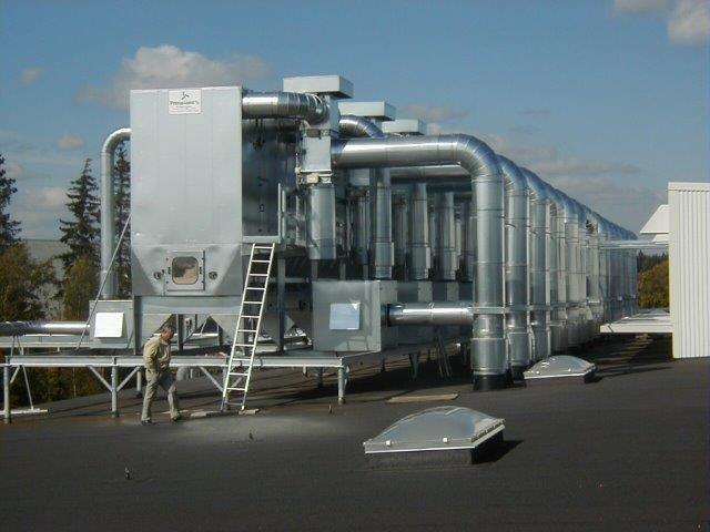 Kædefilteranlæg med integreret returluftsystem
