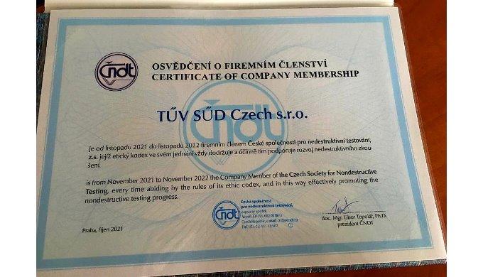 TÜV SÜD Czech je členem Společnosti pro nedestruktivní testování