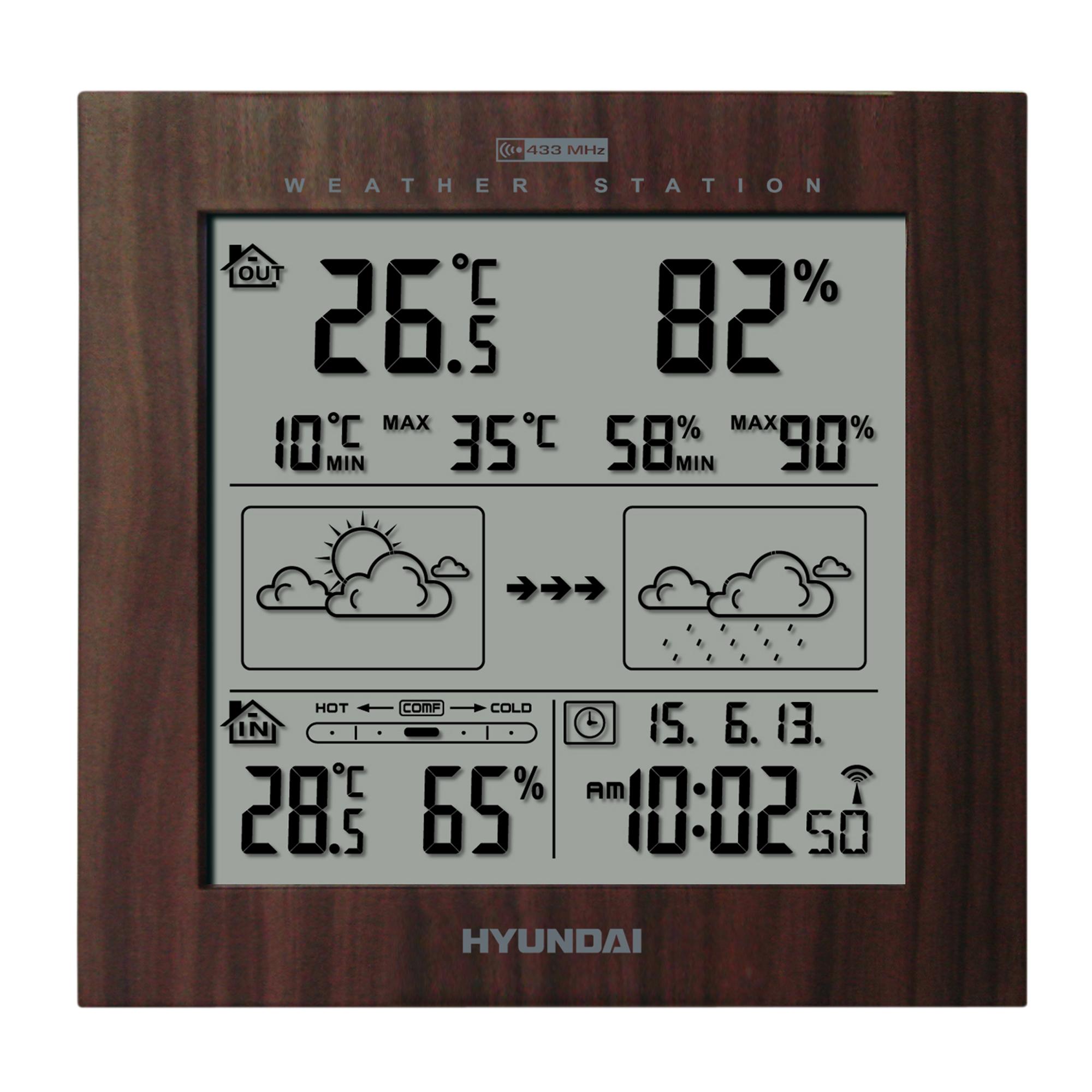 Menší meteostanice Hyundai WS 2244 zobrazuje přesný čas, vnitřní i venkovní teplotu a vlhkost vzduch...