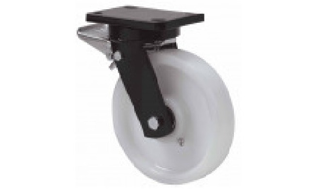 Ruedas de nylon extrafuerte, indicada para soportar altas cargas hasta 1.250 Kg. FT: especialmente i...