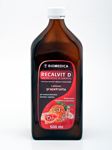 RECALVIT D nápojový koncentrát s vápníkem Doplněk stravy se sladidlem, s luxusní příchutí RŮŽOVÉHO G...