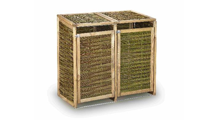 Obudowa z wikliny na śmietniki wykonana z drewna i wikliny przeznaczona na obudowę, maskowanie np.ko...
