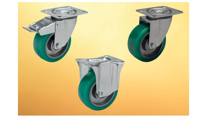 Continuously moving loads will benefit from these soft polyurethane wheeled castors from Elesa as th...