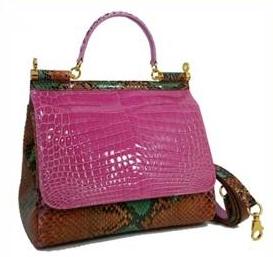 Luxury Combination Handbag for Women Leather : Crocolylus Niloticus & Python Reticulatyus Color : Pi...