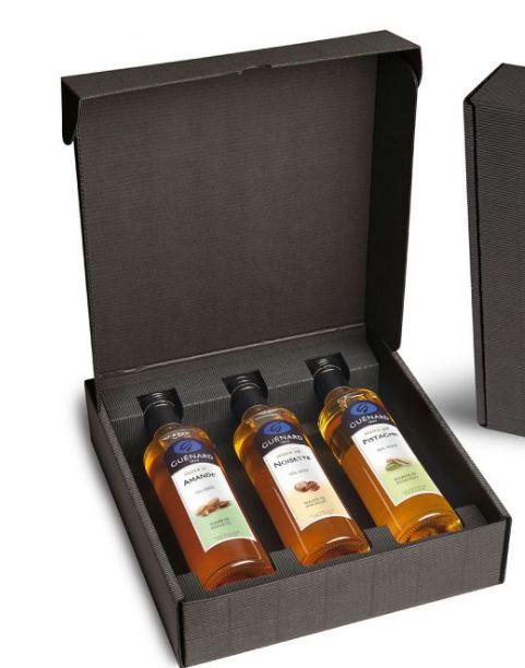 Guénard vous présente un coffret élégant et gourmand composé de 3 huiles aux saveurs gourmandes et a...