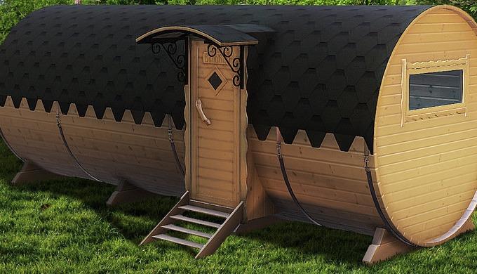 Velká sudová sauna se saunovacím prostorem 2,15 m, sprchou a odpočívárnou s prostorem 2,15 m Obsah d...