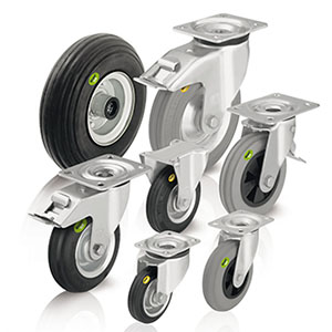 Wheels and castors with soft rubber tyres and two-component solid rubber tyres