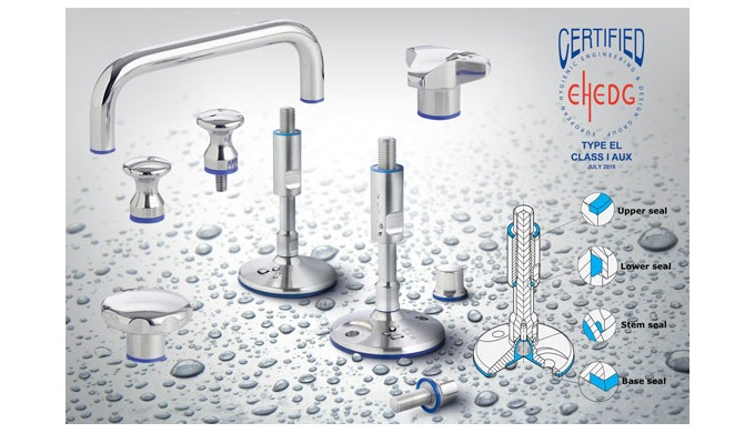 The Elesa series of hygienic knobs and handles in stainless steel with FDA compliant sealing complim...