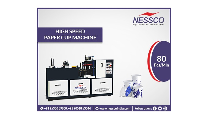 Disposable Paper Cup Making Machine with 80 pcs/min. Equipped with open cam technology. Forming Wate...