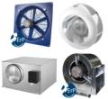 Sort program af 100% regulerbare ventilatorer med EC motor, bl.a. aksialventilator, boksventilatorer...