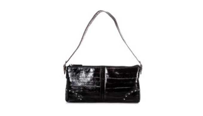 - Proper size as shoulder bag. - The deep color of eel skin and the texture of other kinds of leathe...