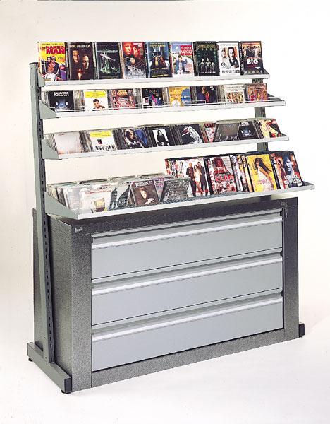 Meuble de rangement avec un esprit pratique et fonctionnel !Utilisation en médiathèque ou en magasin...