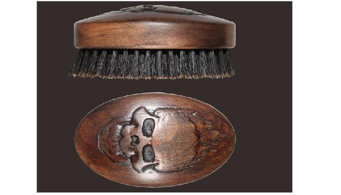 Wooden barber brushes for men skull  styling  oval bear brush