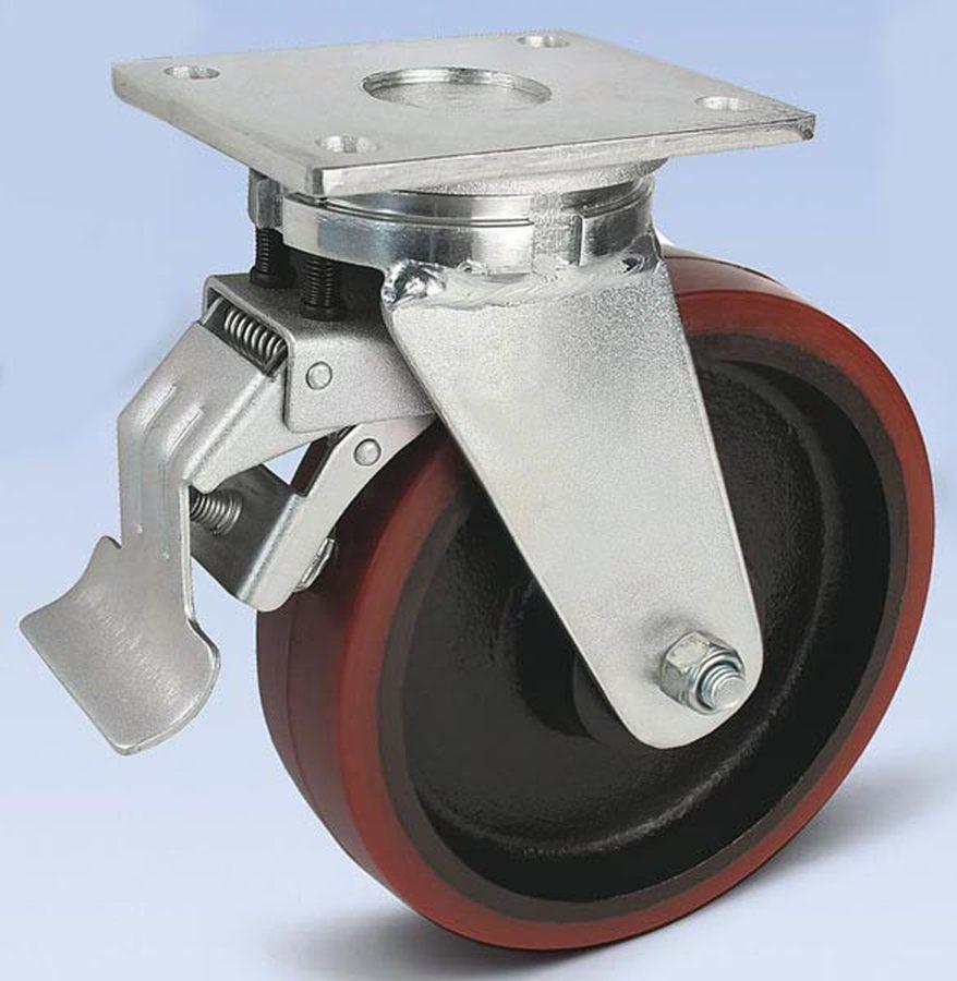 Rad-Ø x Breite 200 x 50 mm, Plattenmass 138x110 mmGehäuse in schwerer Stahlschweißkonstruktion, verz...