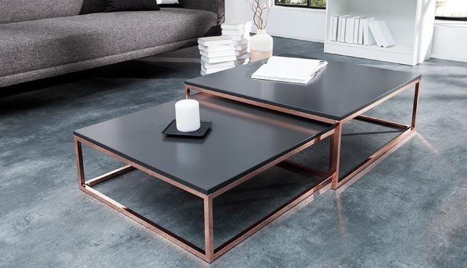 Table Basse Design Pamela Cuivre Et Anthracite By Ye And Co