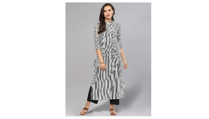 Idalia Dotted and Striped Black & White Straight Kurta comes with closed collar neck, has three quar...