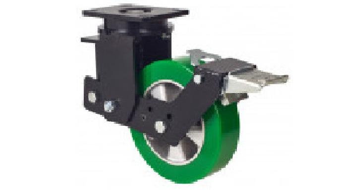 Ruedas con núcleo de aluminio y banda de poliuretano verde fundido, indicada para soportar cargas ha...