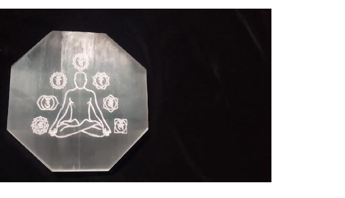 Selenite budda with 7 Chakra