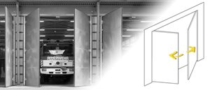 Nos entraînements de portes industrielles / portails automatiques peuvent être poussés, pliés, pivot...