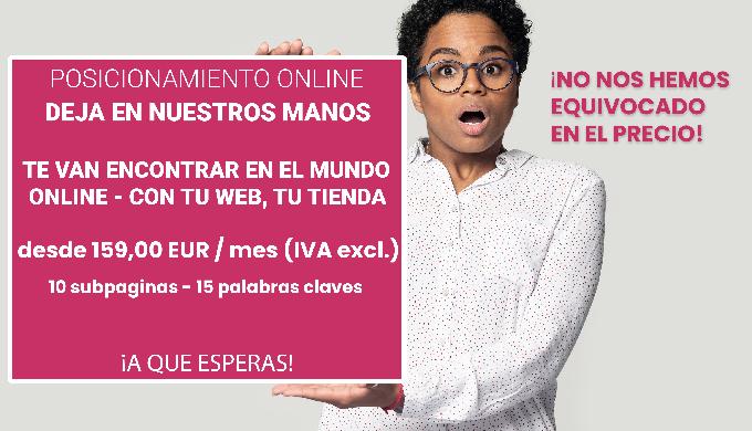 Posicionamiento online para tu empresa desde 159 euros al mes