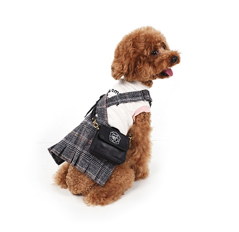 British school style checkered skirt that can be worn by pets of various sizes due to adjustable str...