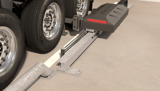 Die vollautomatische LKW-Wegfahrsperre verhindert das ungewollte Wegrollen (das sogenannte